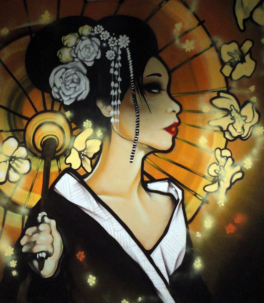 Geisha / Oriental Gardens | Cardiff Graffiti Street Art Murals